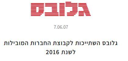 גלובס השתייכות לקבוצת החברות המובילות לשנת 2016